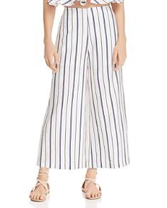AQUA - Striped Cropped Wide-Leg Pants - 100% Exclusive