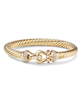 David Yurman - Buckle Bracelet in 18K Yellow Gold with Diamonds & Rubies