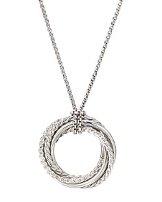 David Yurman - Sterling Silver Crossover Pendant Necklace with Diamonds, 18""