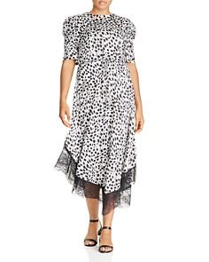 Lost Ink Plus - Lace-Trim Animal-Print Dress
