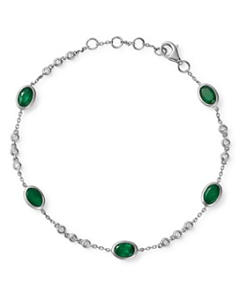 Bloomingdale's - Emerald Station Bracelet in 14K White Gold - 100% Exclusive