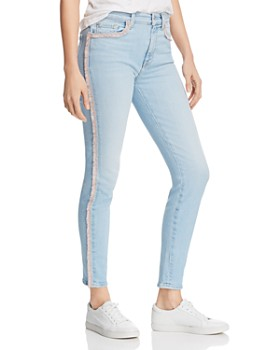 7 For All Mankind - High Rise Pink Fringe Ankle Skinny Jeans in Sky High Blue