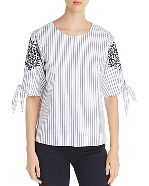 Donna Karan New York Striped Tie-Sleeve Top