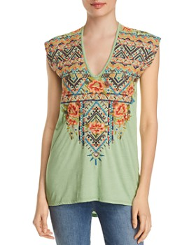 Johnny Was - Sentrie Embroidered V-Neck Tee