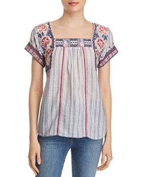 cedf28a0c9a Johnny Was - Kiernan Embroidered Striped Top ...