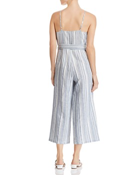 AQUA - Striped Cropped Wide-Leg Jumpsuit - 100% Exclusive