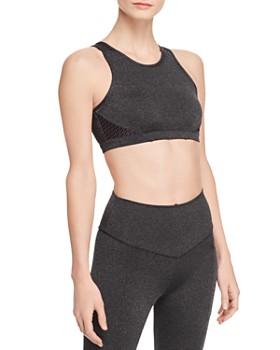 Wear It To Heart - Metallic Mesh-Back Sports Bra