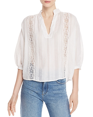 Frame Tops CALI LACE-INSET PINTUCK TOP