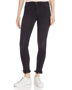 FRAME - Le High Micro Shredded-Hem Skinny Jeans in Foghat - 100% Exclusive