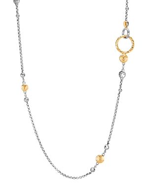 John Hardy 18K Yellow Gold & Sterling Silver Dot Hammered Station Necklace, 36