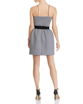 AQUA - Striped Neoprene Fit-and-Flare Dress - 100% Exclusive