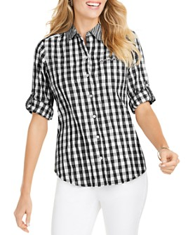 Foxcroft - Reese Crinkled Gingham Shirt