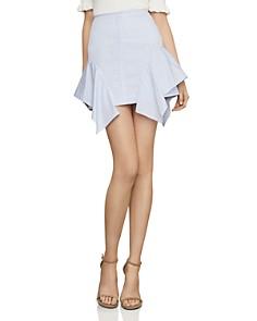 BCBGMAXAZRIA - Striped Ruffled Mini Skirt