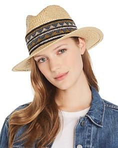 AQUA - Geometric-Trim Panama Hat - 100% Exclusive