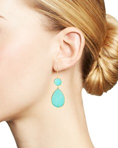 IPPOLITA - 18K Yellow Gold Polished Rock Candy Turquoise Circle Teardrop Drop Earrings