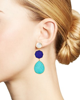 IPPOLITA - 18K Yellow Gold Polished Rock Candy Mother-of-Pearl, Lapis & Turquoise Drop Earrings