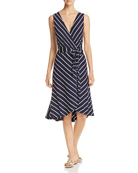 B Collection by Bobeau - Rowan Striped Faux-Wrap Dress