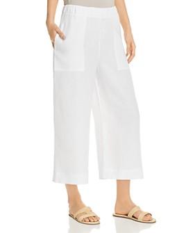 Three Dots - Cropped Wide-Leg Linen Pants
