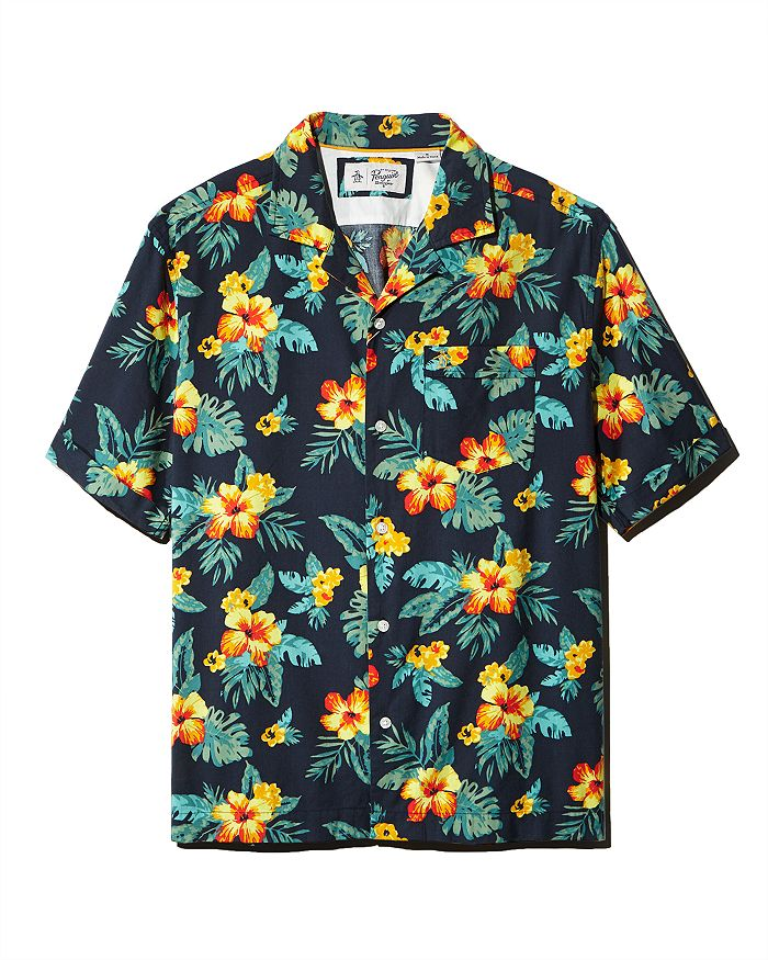 Original Penguin - Floral-Print Regular Fit Shirt - 100% Exclusive