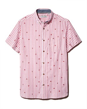 Sovereign Code - Genius Short-Sleeve Striped Watermelon-Print Regular Fit Button-Down Shirt