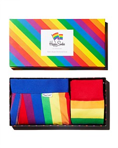 Happy Socks - Pride Rainbow Striped Socks & Boxer Briefs Gift Box