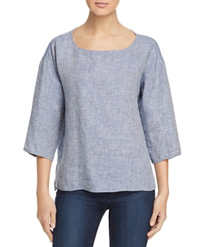 Eileen Fisher Petites - Organic Linen Boat-Neck Top