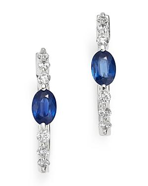 Bloomingdale's Blue Sapphire & Diamond Hoop Earrings in 14K White Gold - 100% Exclusive