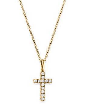 Bloomingdale's - Diamond Cross Pendant Necklace in 14K Yellow Gold, 0.08 ct. t.w. - 100% Exclusive
