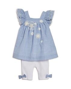 Miniclasix - Girls' Ruffle Pinstripe Top & Capri Legging Set - Baby