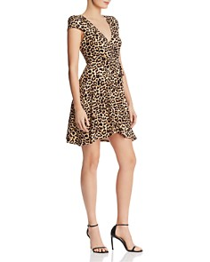 AQUA - Leopard-Print Knit Wrap Dress - 100% Exclusive