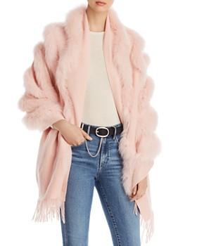 Maximilian Furs - Fox Fur-Trim Cashmere Stole
