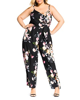 06042bacb874 City Chic Plus - Tuscan Rose Sleeveless Tie-Front Jumpsuit ...