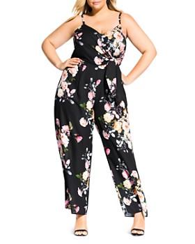 0e01b6b10c6 City Chic Plus - Tuscan Rose Sleeveless Tie-Front Jumpsuit ...