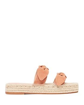 Loeffler Randall - Women's Daisy Open-Toe Leather Espadrille Platform Slide Sandals