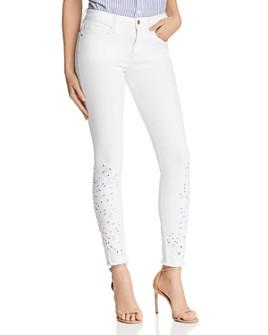 FRAME - Le Skinny De Jeanne Foliage Eyelet Detail Jeans in Blanc