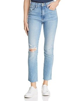 FRAME - Le Sylvie Raw-Edge Straight-Leg Jeans in Overdrive