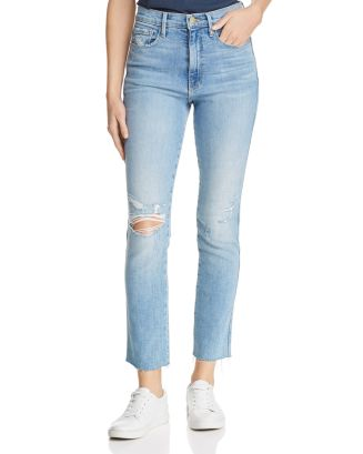Le Sylvie Raw Edge Straight Leg Jeans In Overdrive by Frame