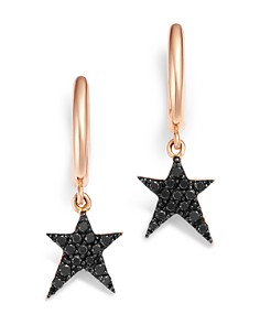 OWN YOUR STORY - 14K Rose Gold Cosmos Black Diamond Rockstar Hoop Earrings