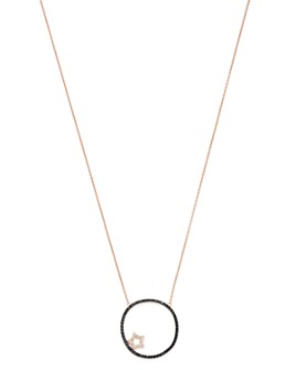 """OWN YOUR STORY - 14K Rose Gold Cosmos Black & White Diamond Star Crossed Moon Pendant Necklace, 18"""""""