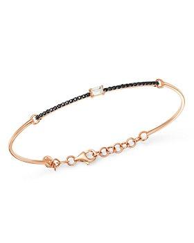 OWN YOUR STORY - 14K Rose Gold Linear White Baguette & Black Diamond Bangle Bracelet