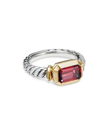 David Yurman - Sterling Silver Novella Ring with Rhodalite Garnet & 18K Yellow Gold