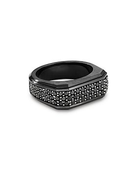 David Yurman - Black Titanium Pavé Roman Signet Ring with Black Diamonds