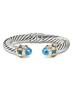 David Yurman - Sterling Silver & 14K Yellow Gold Renaissance Bracelet with Blue Topaz