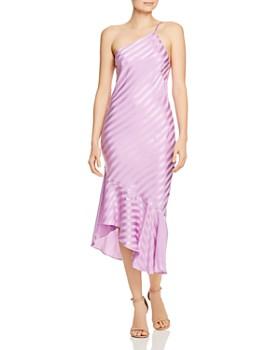 Michelle Mason One Shoulder Silk Dress