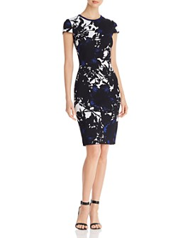St. John - Floral Jacquard Knit Dress