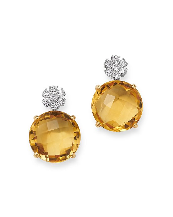 Bloomingdale's - Citrine & Diamond Drop Earrings in 14K Yellow Gold - 100% Exclusive