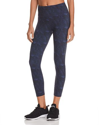 Varley - Kensington Feather Print Cropped Leggings