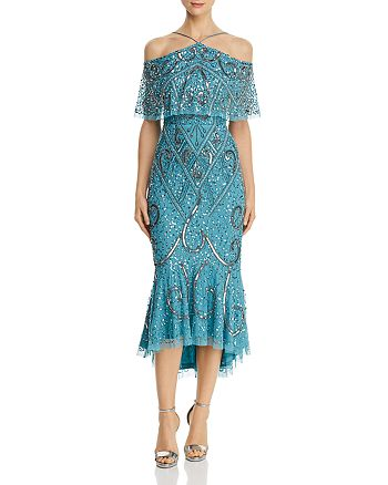 Aidan Mattox - Embellished Cold-Shoulder Dress