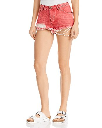 One Teaspoon - Bandits Distressed Denim Shorts in Organic Red