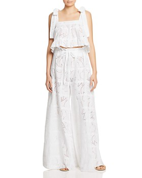Paper London - Emely Eyelet Lace Cropped Top